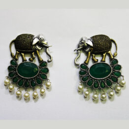 Elephant Design Earrings 100213 Green