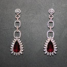 CZ Rose Gold Plated Earrings 402689