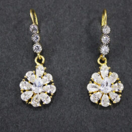 CZ Gold+Silver Plated Earrings 68735