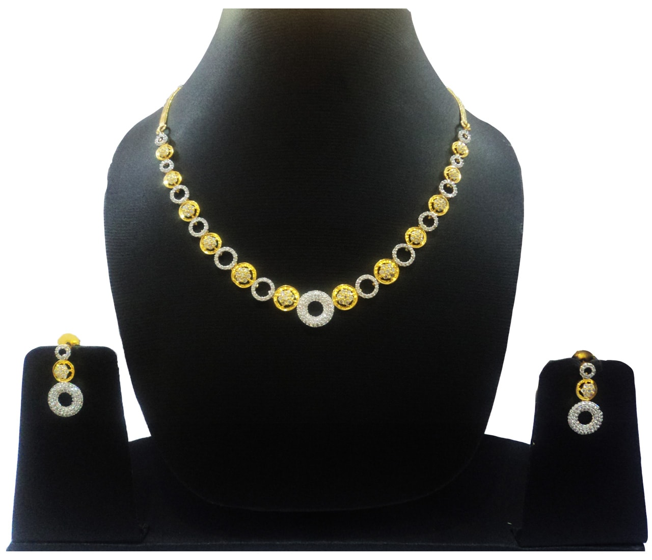 CZ Gold+Silver Plated Necklace 401384