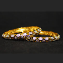CZ Gold+Silver Plated Bangles 65817