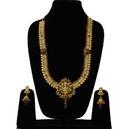 Long Gold Plated Temple Jewellery Set NS-1489-195