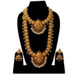 1) Laxmi Design Gold Plated Bridal Temple Jewellery Set with Kamar Bandh DH-179-2160